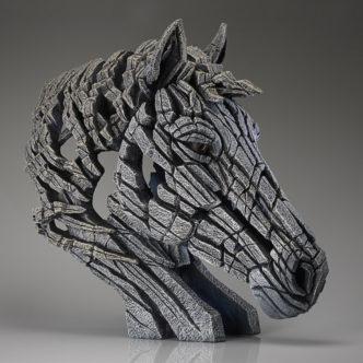 Horse Bust White Matt Buckley Edge Sculpture