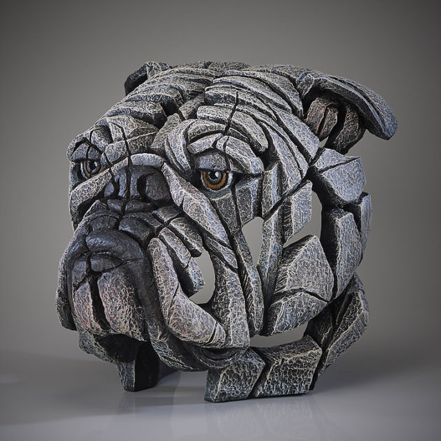 Bulldog Bust White by Matt Buckley Edge Sculpture