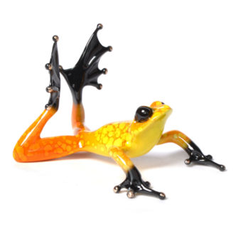 Sunbather (Solid Bronze Frog Sculpture) by Tim Cotterill Frogman Torquay Devon