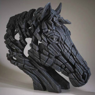 Horse Bust Black Matt Buckley Edge Sculpture