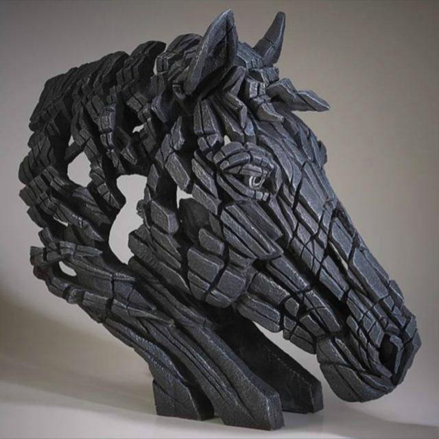 Horse Bust Black Matt Buckley Edge Sculpture