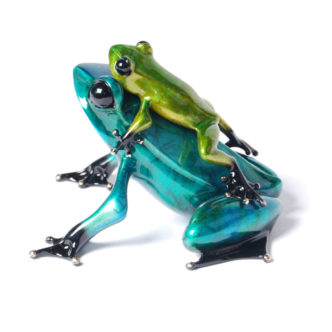 Joy Ride (Solid Bronze Frog Sculpture) by Tim Cotterill Frogman Torquay Devon