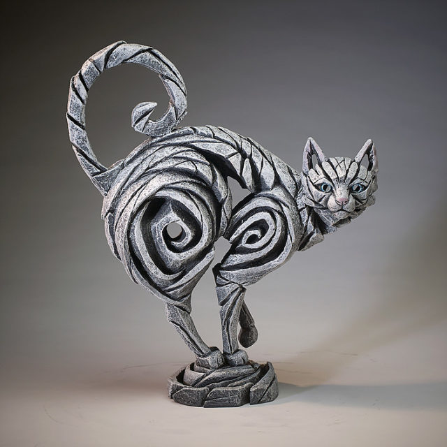 Cat White Sculpture by Matt Buckley Edge Sculpture