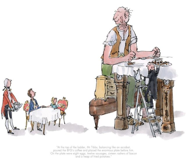 The BFG has breakfast with the Queen by Quentin Blake