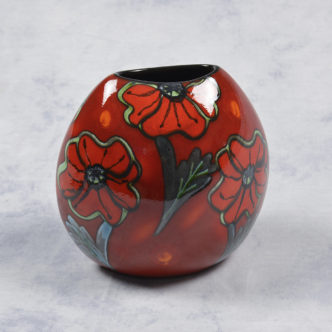 Poppy Field Purse Vase 20cm by Poole Pottery