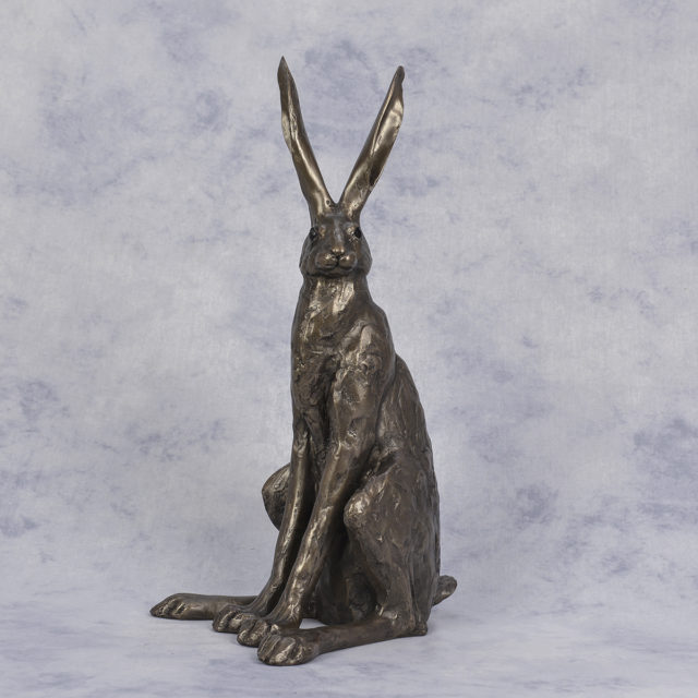 Sitting Hare Large Cold cast Bronzr Sculpture by Paul Jenkins