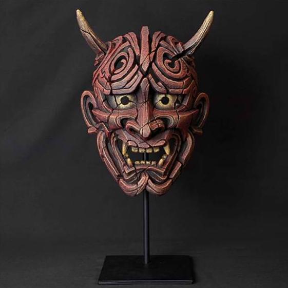 Japanese Hannya Mask (Antique Red) Sculpture by Matt Buckley, Edge, Robert Harrop Designs.