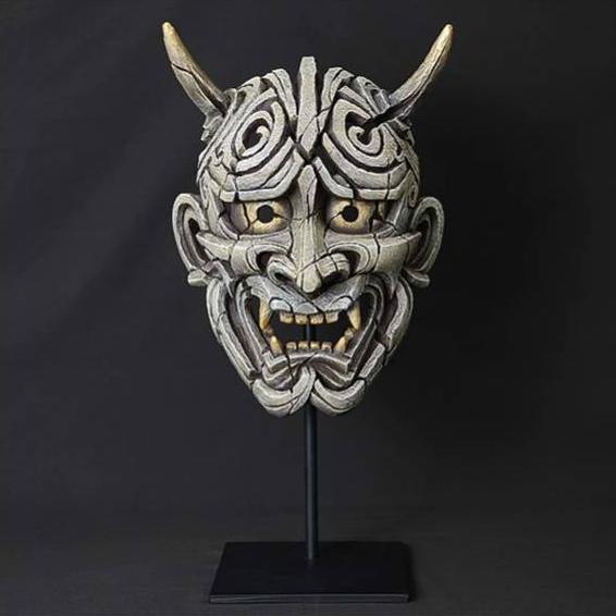 Japanese Hannya Mask (Antique White) Sculpture by Matt Buckley, Edge, Robert Harrop Designs.