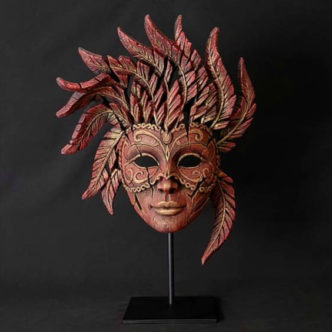 Venetian Carnival Mask Sculpture by Matt Buckley, Edge Sculpture