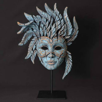 Venetian Carnival Mask Teal Wood Elf Mistral by Matt Buckley Edge Sculpture