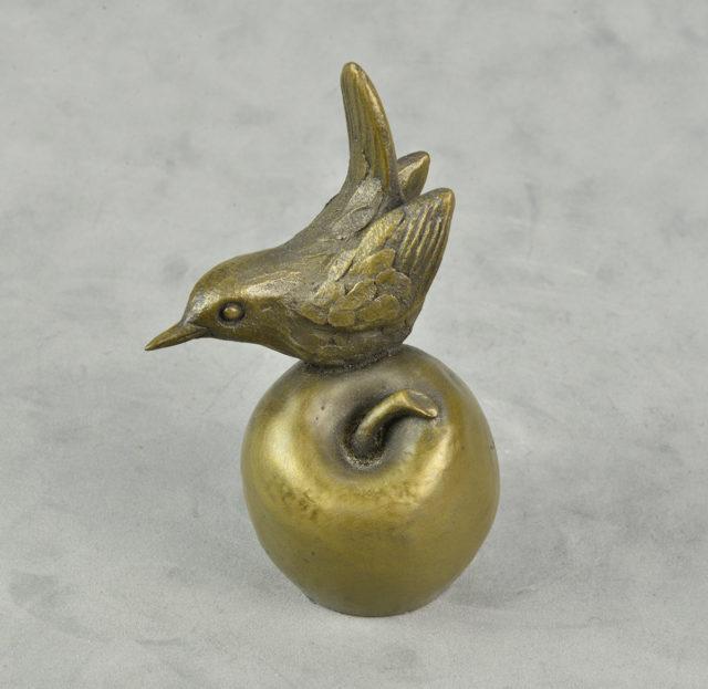 Wren on Apple by Oriele Devon Bronze