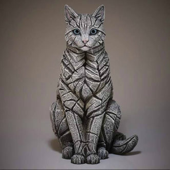 Cat Sitting White Matt Buckley Edge Sculpture