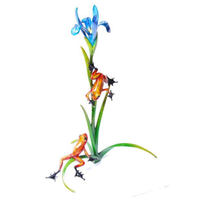 Iris (Solid Bronze Frog Sculpture) by Tim Cotterill Frogman Torquay Devon