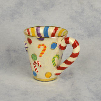 Candy Cane Mug by Mary Rose Young