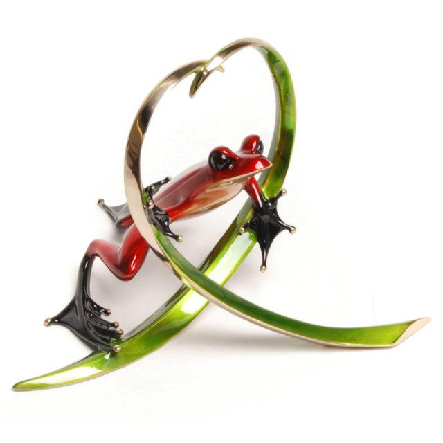 Arrow (Solid Bronze Frog Sculpture) by Tim Cotterill Frogman Torquay Devon