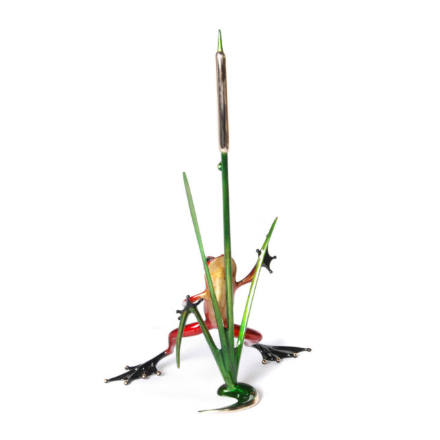 Cattail (Solid Bronze Frog Sculpture) by Tim Cotterill Frogman