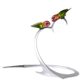 Lovebirds Solid Bronze Sculpture by Tim Cotterill Frogman Torquay Devon