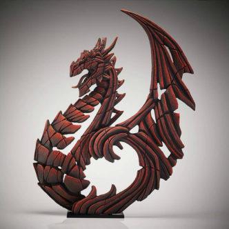Heraldic Dragon Red Matt Buckley Edge Sculpture