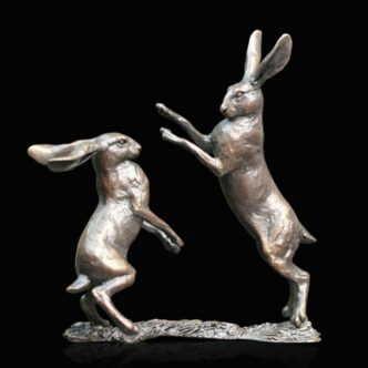 Small Hares Boxing Solid Bronze Sculpture by Mike Simpson