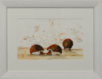 A Prickly Friend Original Painting by Smokey. Cute hedgehog art.