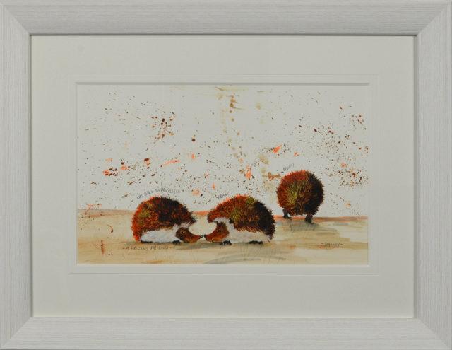 A Prickly Friend Original Painting by Smokey. Cute hedgehog art.