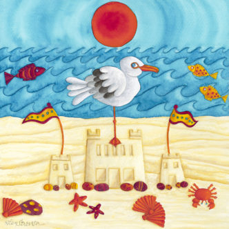 Nicky Steveson A Day at the Beach open edition print exclusive to haddon galleries. Seagull art