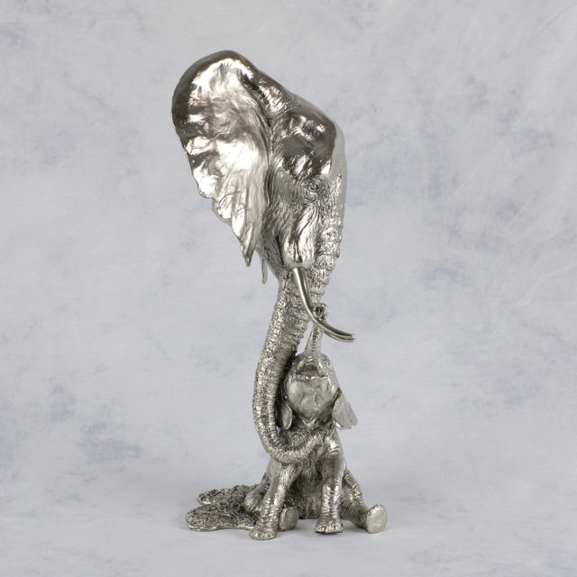 Elephant Mother & Baby Nickel Resin Sculpture by Keith Sherwin