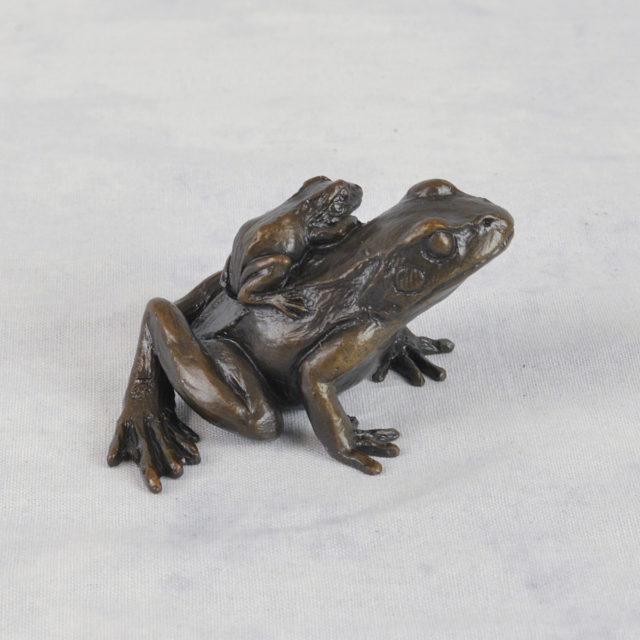 Small Frog with Baby Solid Bronze Sculpture by Keith Sherwin