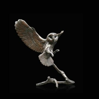 Barn Owl in Flight Solid Bronze Sculpture by Mike Simpson