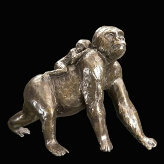 Gorilla with Baby Solid Bronze Sculpture by Mike Simpson