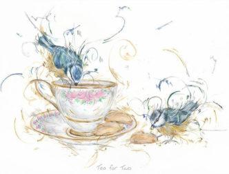 Tea for Two by Aaminah Snowdon bird art