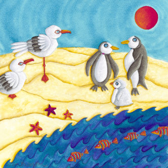 Nicky Steveson So What Are They Doing Here? open edition print exclusive to haddon galleries. Seagull art