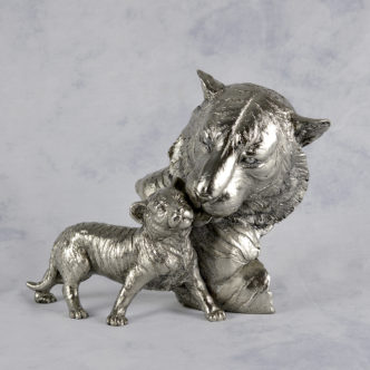 Tiger Mother & Baby Nickel Resin Sculpture by Keith Sherwin