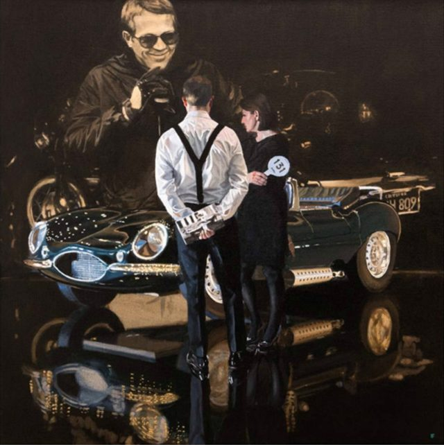 Car Auction, Jaguar XKSS Limited edition print by Iain Faulkner