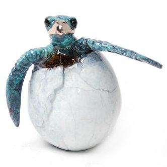 Kiko Hatching Turtle (Solid Bronze) by Chris Barela Lil Flipper Green