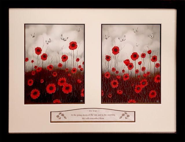 100 Years WW1 Commemorative Poppy Diptych
