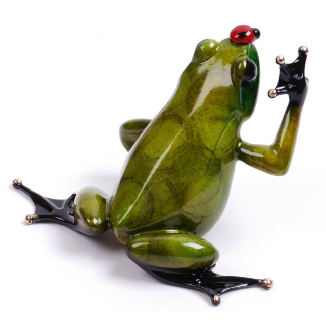Bugsy (Solid Bronze Frog Sculpture) by Tim Cotterill Frogman Haddon Galleries Torquay