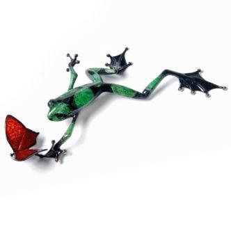 Taking Flight (Solid Bronze Frog Sculpture) by Tim Cotterill Frogman Torquay Devon