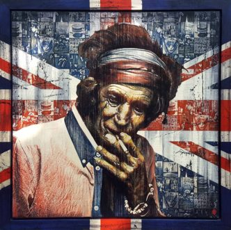 Made in Britain: Keith (Original) by Rob Bishop Keith Richards Art on Maple Wood