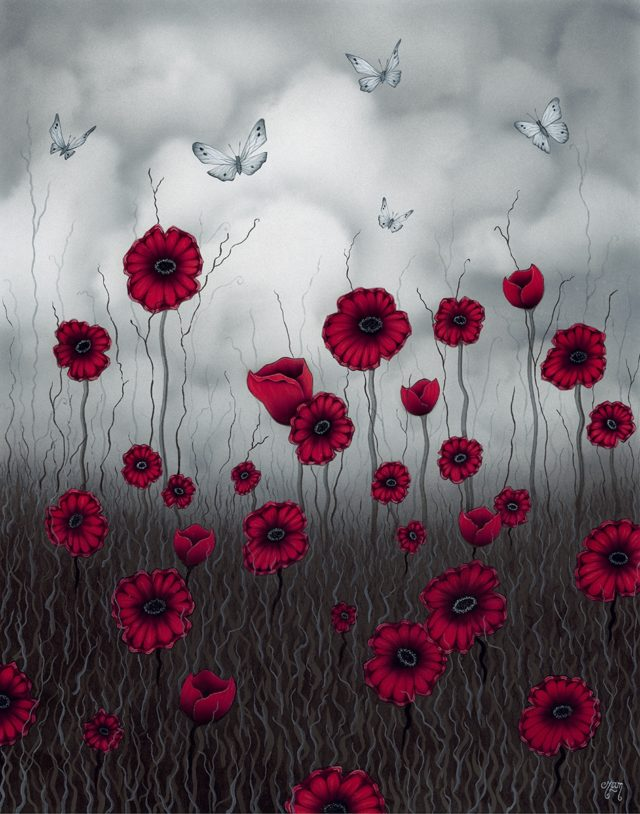 Late Summer Flight Poppy Art print by Tamsin Evans Torquay Devon