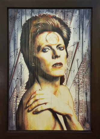 Bowie (Original Variation) by Rob Bishope Art on Maple Wood