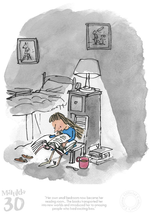 Matilda 30th - Her Own Small Bedroom by Quentin Blake and Roald Dahl