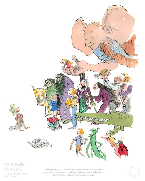 40th Anniversary Print Roald Dahl & Quentin Blake Fine Art Print