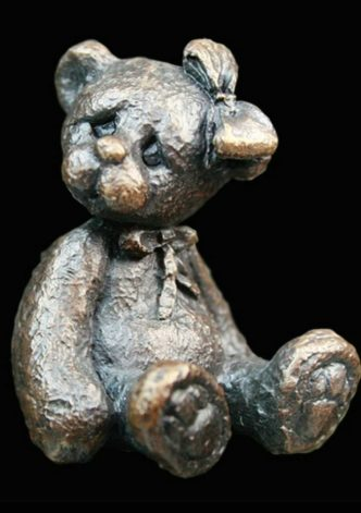 Florence Teddy Bear Solid Bronze Sculpture by Mike Simpson