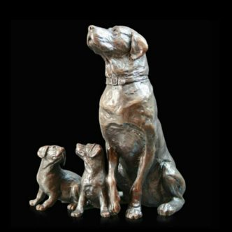 Labrador with Puppies Solid Bronze Sculpture by Michael Simpson Richard Cooper