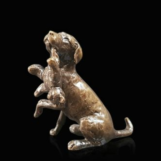 Labrador with Teddy Solid Bronze Sculpture by Butler & Peach