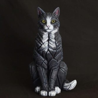 Cat Sitting Black and White Matt Buckley Edge Sculpture