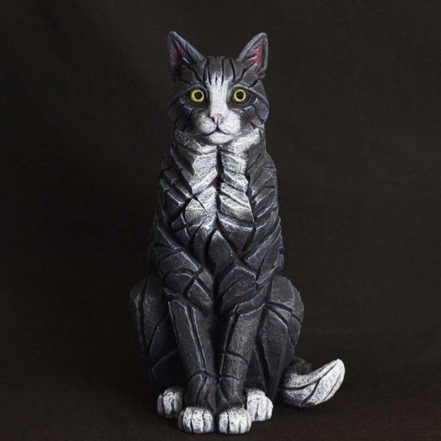 Cat Sitting Black and White Matt Buckley Edge Sculpture