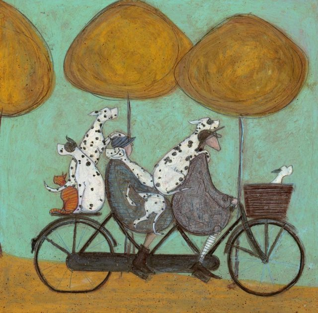 How Many Dalmatians Fit On A Bicycle Signed Limited Edition Print by Sam Toft