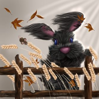 Ride The Wild Wind by Lisa Holmes Bunny art cute